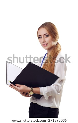 Smiling Young  American Businesswoman Holding Folders on Isolated White Background - stock photo