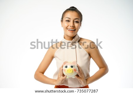 Cute young asian woman holding, poking hairy pussy