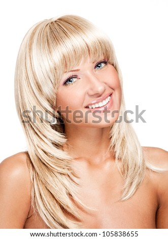 smiling young beautiful woman with long shiny straight hair , hairstyle - stock photo