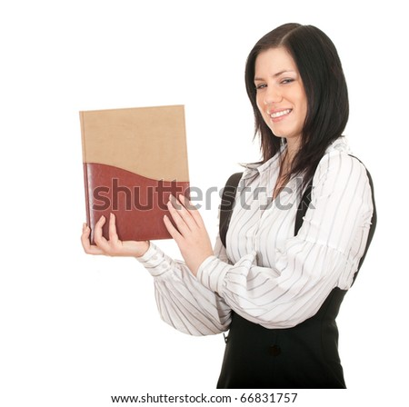smiling young black hair woman and book - stock photo