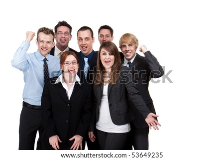 Smiling young business team, isolated studio image