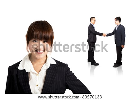 smiling young business woman and handshaking Successful deal - stock photo