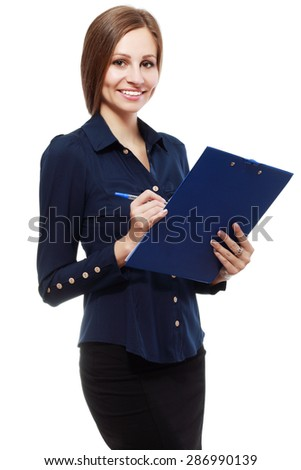 Smiling young business woman holding document on clipboard isolated on white background - stock photo