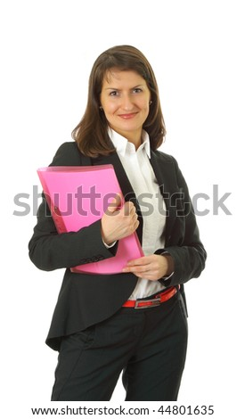 Smiling young business woman isolated on a white background