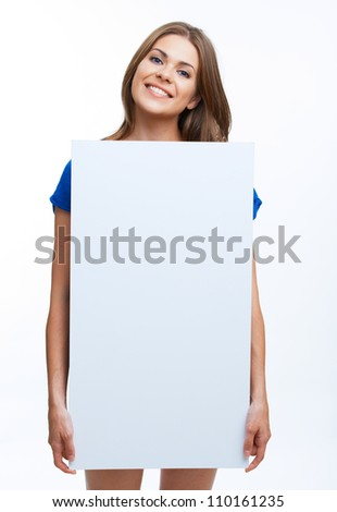 Smiling young business woman showing blank signboard, over white background isolated