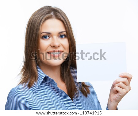 Smiling young business woman showing blank signboard, over white background isolated close up portrait.