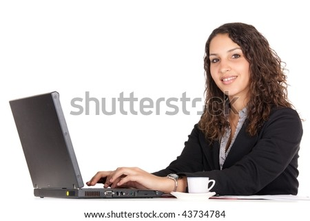 smiling young business woman using laptop isolated on white