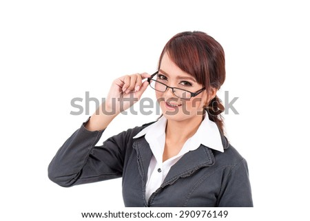 Smiling young business woman wearing glasses