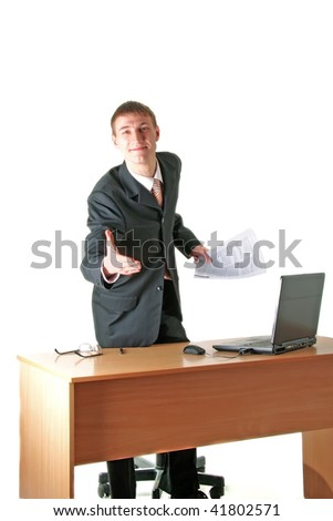smiling young businessman greeting, workplace, isolated on white