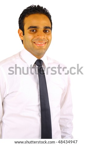 Smiling young businessman isolated on white - stock photo