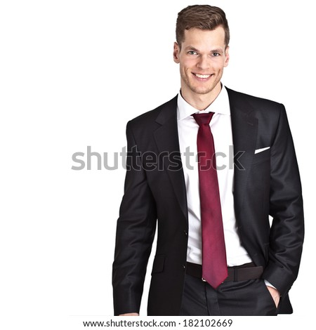 Smiling young businessman - isolated on white background and much copyspace for own text - stock photo