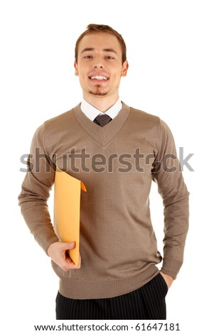 Smiling young businessmen man with documents. Isolated on white background. - stock photo
