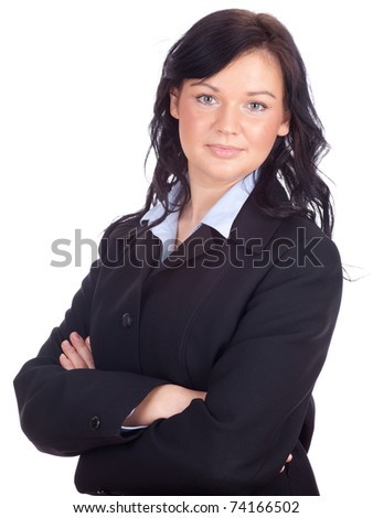 smiling young businesswoman in black jacket, series - stock photo