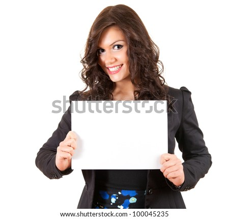 smiling young businesswoman with blank paper, white background