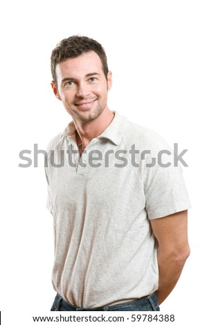 Smiling young casual man looking at camera with confidence, isolated on white background - stock photo