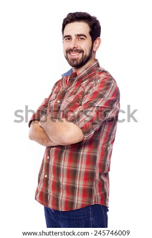 Smiling young casual man with arms crossed, isolated on white background