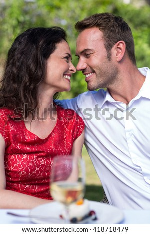 Smiling young couple looking face to face while sittingin lawn - stock photo