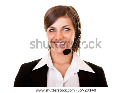 smiling young customer service girl with headset