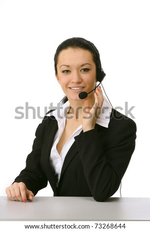smiling young customer service girl with headset - stock photo
