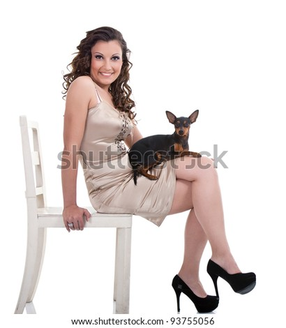 smiling  young fashion woman with dog  , isolated on white background - stock photo