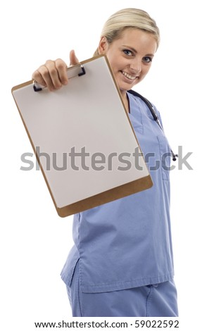Smiling young female doctor showing her clipboard isolated over a white background - stock photo