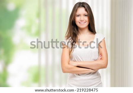 Smiling young female manager - stock photo