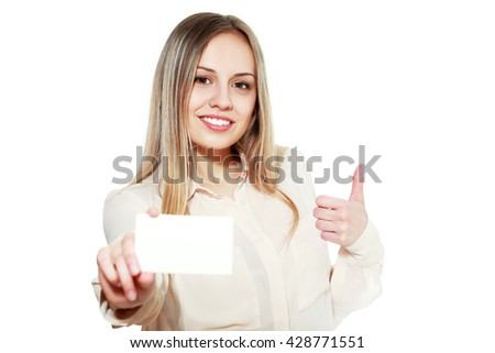 Smiling young female showing blank credit card and show thumb up - stock photo