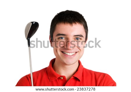 Smiling young golf player looking at camera with his club - stock photo