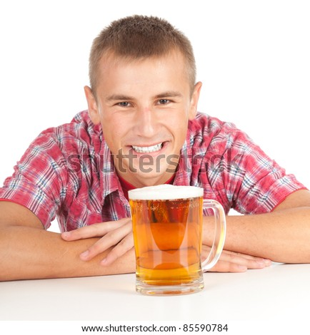 smiling young handsome man with beer, white background - stock photo