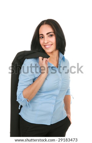 Smiling Young Hispanic Businesswoman on Isolated White - stock photo
