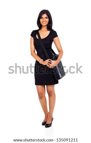 smiling young indian businesswoman carrying computer bag isolated on white - stock photo