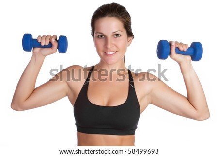 Smiling young isolated fitness woman