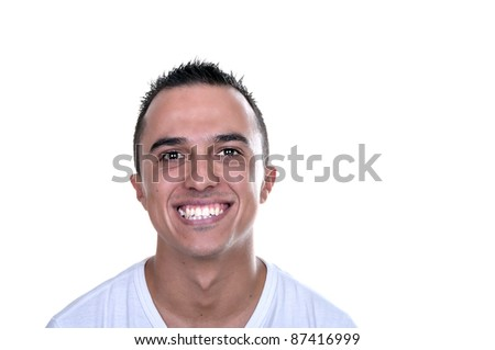 smiling young Latino on white background - stock photo