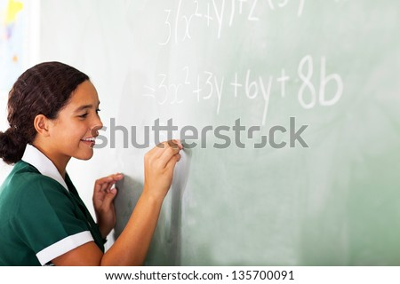 smiling young learner writing maths on the blackboard - stock photo