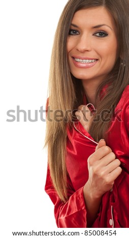 smiling young long hair woman in red pajamas, series - stock photo