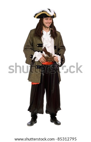 Smiling young man in a pirate costume with pistol - stock photo