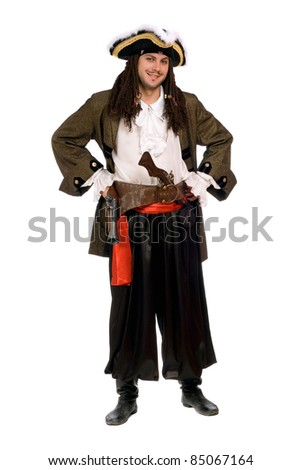 Smiling young man in a pirate costume with pistols