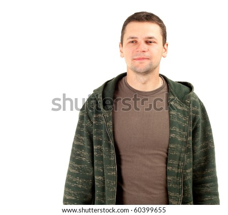 smiling young man in brown shirt and dark sweatshirt - stock photo