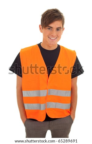 smiling young man in orange protective waistcoat