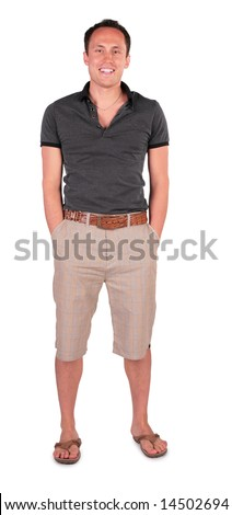 smiling young man in sandals - stock photo