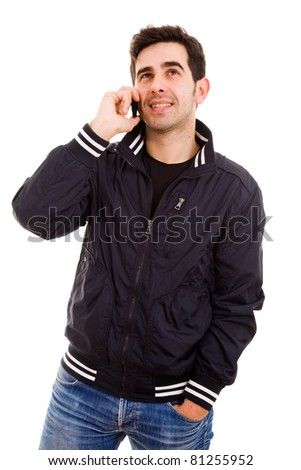 smiling young man on the phone, isolated on white - stock photo