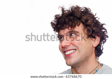 Smiling Young Man with Copy Space - stock photo