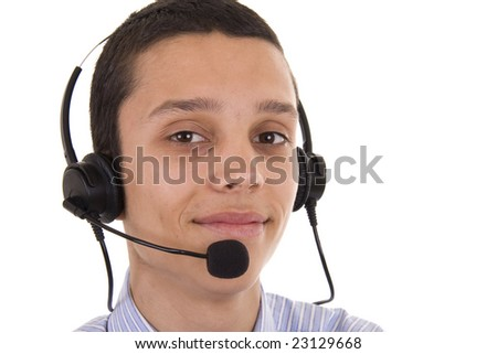 Smiling young man with telephone headset isolated on white