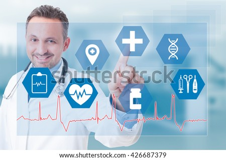 Smiling young medic touching medical icon on futuristic screen as modern healthcare inovation concept
