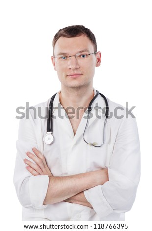 Smiling young medical doctor with stethoscope. Isolated over white background. Studio shot. - stock photo