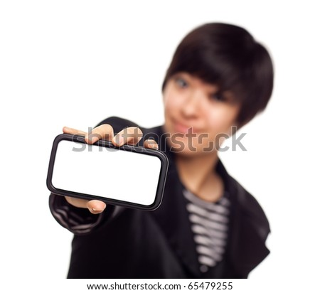 Smiling Young Mixed Race Woman Holding Blank Smart Phone Out - Focus is On the Phone Ready for Your Own Message. - stock photo