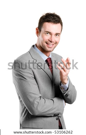 Smiling young natural businessman explaining isolated on white background - stock photo