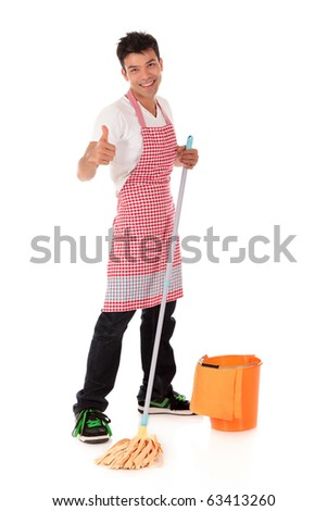 Smiling young Nepalese man with thumb-up, doing housework, mopping. Studio shot. White background. - stock photo
