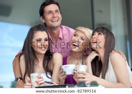 Smiling young people - stock photo