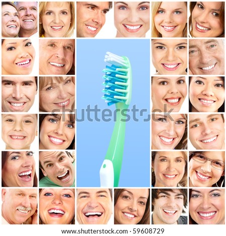 Smiling  young people with healthy white teeth - stock photo
